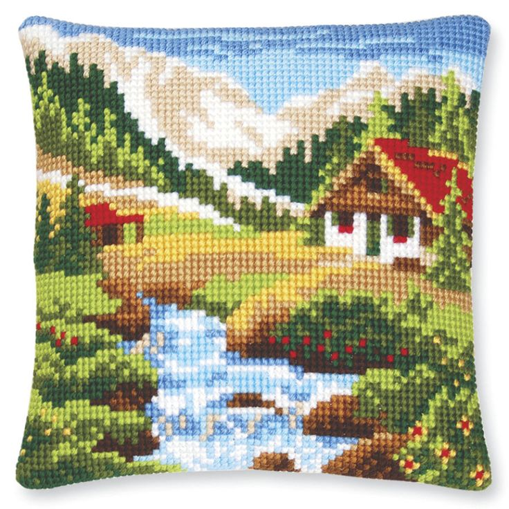 Mountain Stream Pillow Top - Cross Stitch, Needlepoint, Stitchery, and Embroidery Kits, Projects, and Needlecraft Tools   Stitchery