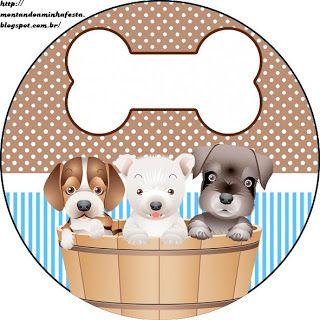 LARGE SET-- Montando a minha festa: Cachorrinhos Marrom & Azul