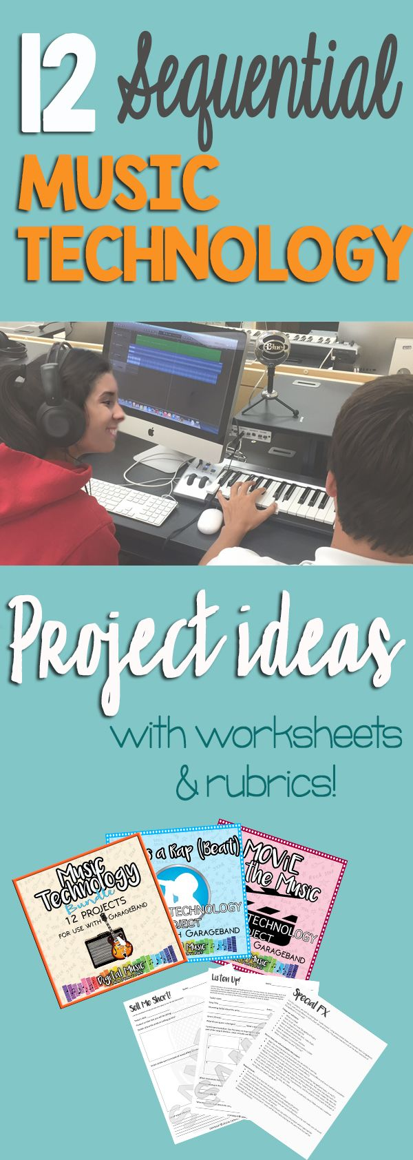 Music Technology Curriculum for middle and high school.  GarageBand project ideas, Logic, Sound Trap, Soundation, Pro Tools, Music lesson plans.