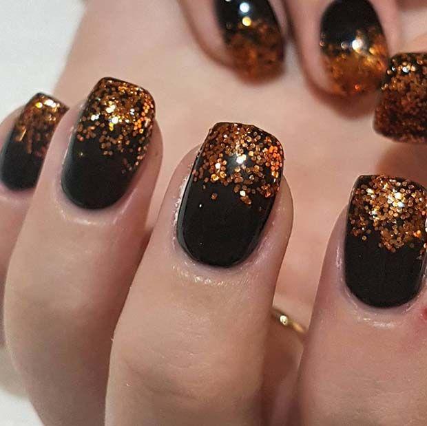 Nageldesign Ideen Perfekt Fur Den Winter Beste Trend Mode Black Nails With Glitter Cute Nail Art Designs Winter Nail Designs