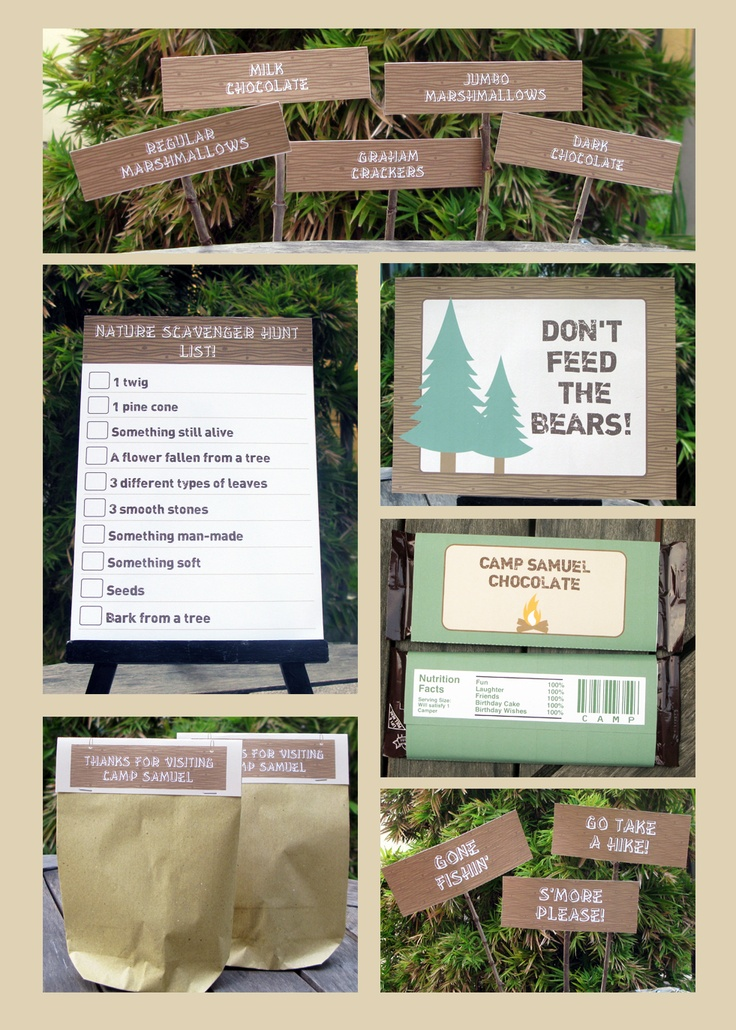 Camping Invitation and Printable Birthday Party Decorations