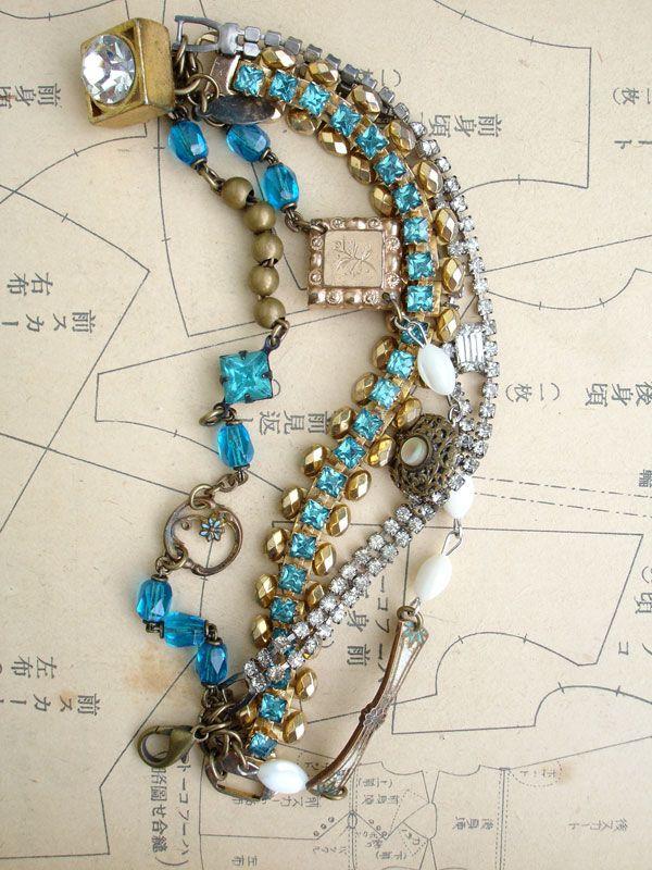 4 Strands Repurposed Bracelet in Turquoise from www.paulamontgomery.com
