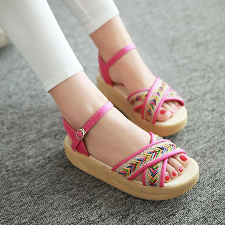 2014 genuine leather female sandals wedges casual flat shoes sandals mother all-match women's shoes US $24.44