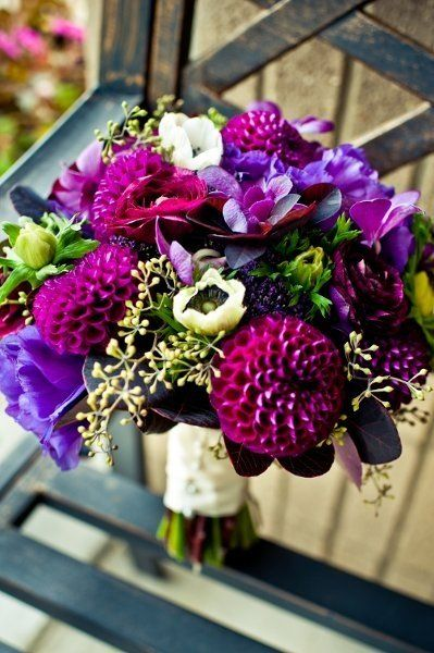 Ah! A bouquet in shades of purple and plum is perfect for fall! {Sweet Pea Floral Design}