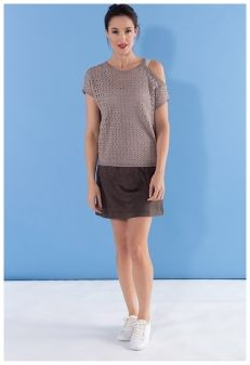 MISS TREND - PULL AJOURE GREGE + ROBE TAUPE