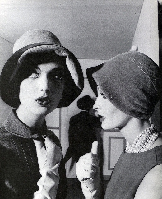 Dorothea McGowan and model in unused fashion shot for Vogue, photo by William Klein, Sept. 1960