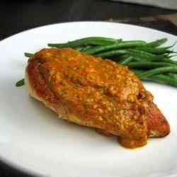Lidia Bastianich's tomato-almond pesto over seared chicken. Yum!