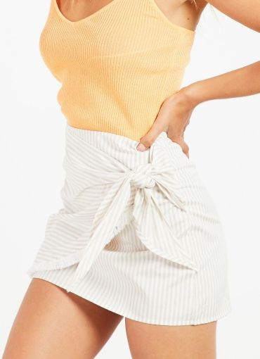 Harlot Skirt - Beige Stripe