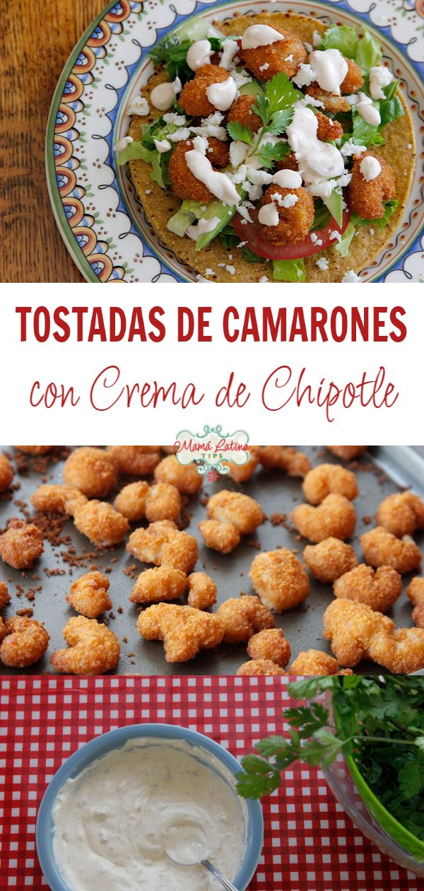 These popcorn shrimp tostadas are incredibly simple to make, but still so extraordinarily satisfying and delicious. The cool sour cream balances out the kick from the chipotles and lemon. Shrimp Tostadas, Popcorn Shrimp, Home Meals, Mexican Food Recipes, Ethnic Recipes, Comida Latina, Latin Food, Herbal Remedies, Sour Cream