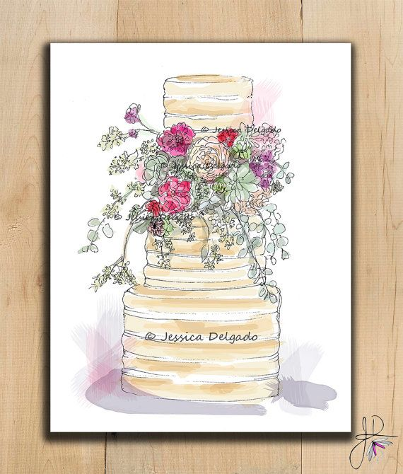 Rustic Wedding Cake Illustration Wildflower by BeautyInPattern