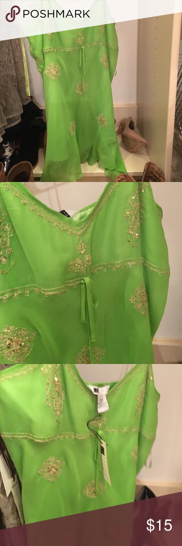 Carol Little Lime Green Cami Beautiful chiffon green and Gold Cami  Beautiful Gwen with Gold embroidered. Perfect with white jeans Carole Little Tops Camisoles
