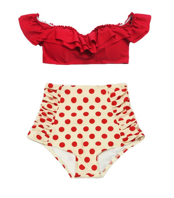 Red Off the Shoulder Cutout Double Layered Frill Bra Top and Cream Polka dot dots High waist waisted rise Bikini Swimsuit Bathing suit S M by venderstore on Etsy