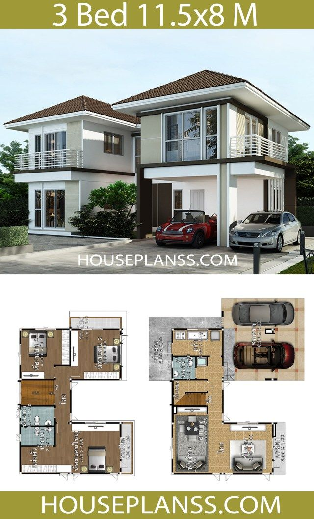 House Design Plans Idea 11 5x8 With 3 Bedrooms Home Ideassearch House Plans House Design Home Design Plans