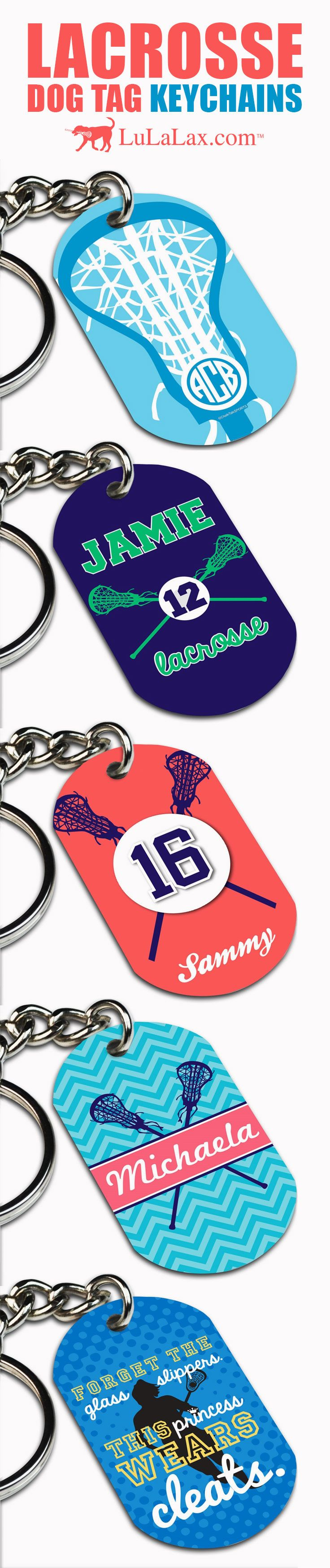Your keys will easily stand out if you have one of our Girls Lacrosse Dog Tag Keychains on them! They can be personalized and make great team gifts or party favors! LuLaLax.com