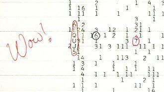 Le signal « Wow! » est un signal radio puissant, à bande étroite et centré sur la raie à 21 centimètres, capté le 15 août 1977 par le radiotélescope The Big Ear de l'université de l'État de l'Ohio. D'origine inexpliquée, ce signal, qui a duré 72 secondes, n'a plus été détecté depuis. En 2012, pour son 35e anniversaire, Arecibo a envoyé une réponse de l'humanité, contenant 10,000 messages Twitter, dans la direction d'où provenait le signal.