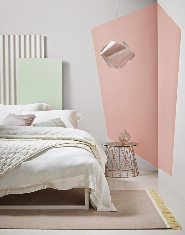 creative wall paint with geometric pattern / bedroom design