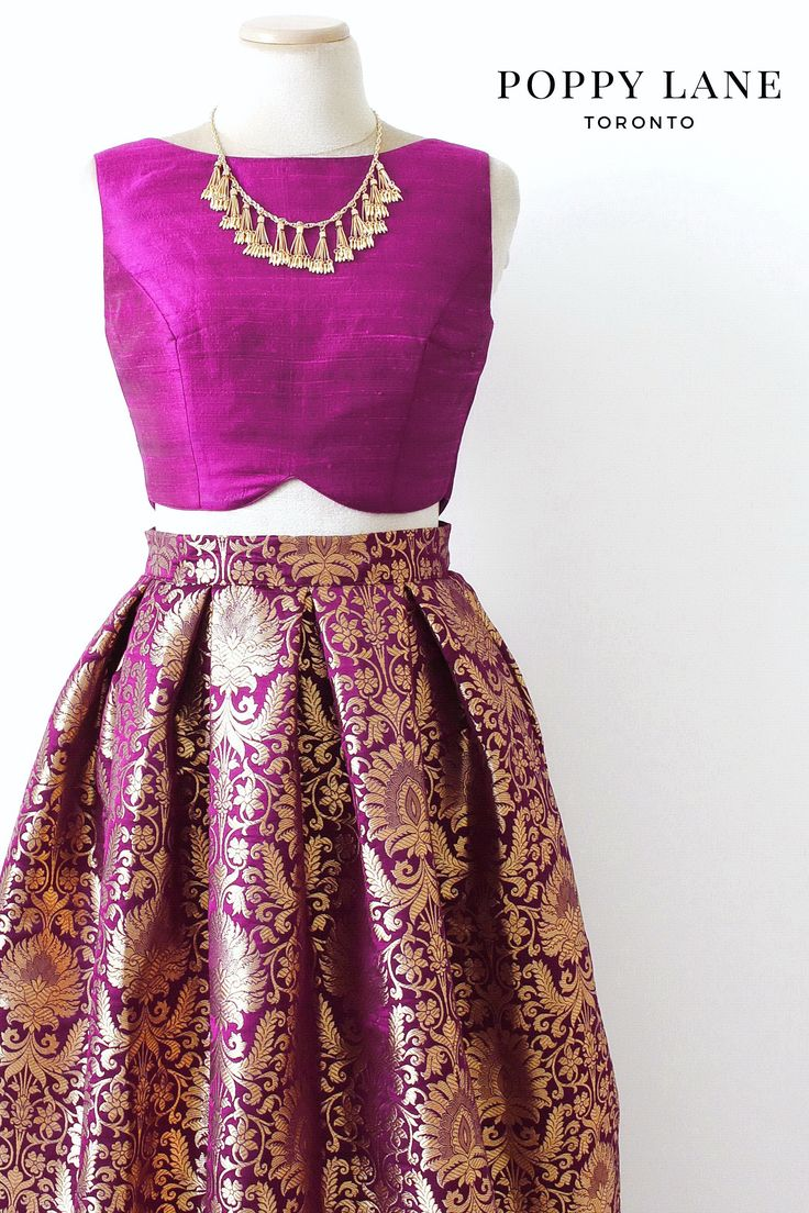 Pretty Purple Brocade Skirts with matching dupattas. Shop now at poppylane.ca
