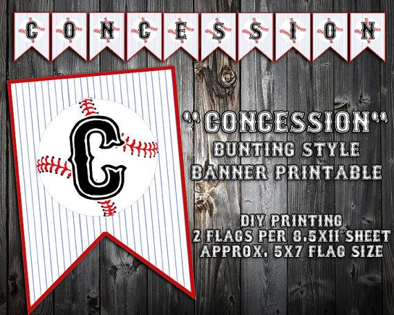 INSTANT DOWNLOAD - Baseball Themed Birthday Party Banner - Concession Stand - Party Printable Bunting - DIY Printing
