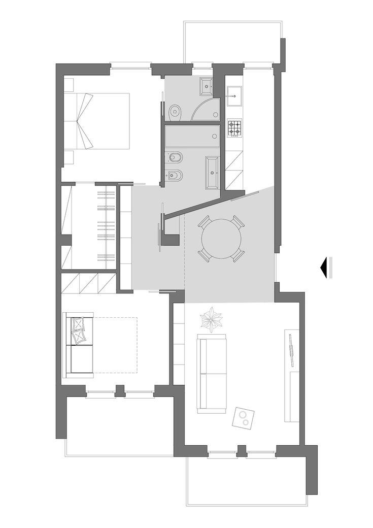 Piccoli escamotage in 70 mq case in stile minimalista di