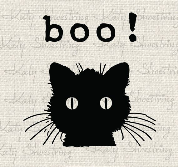 black cat halloween decoration digital image download transfer to treat bag tags banners totes burlap t
