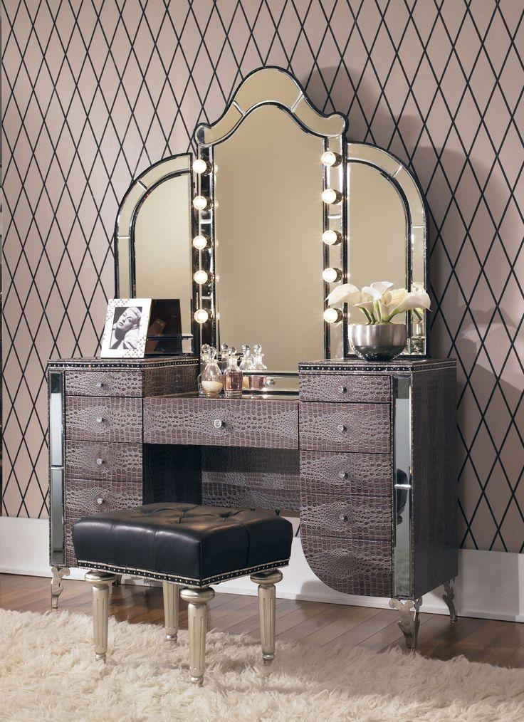 Aico Hollywood Swank Upholstered Vanity With Mirror-Amazing Gator