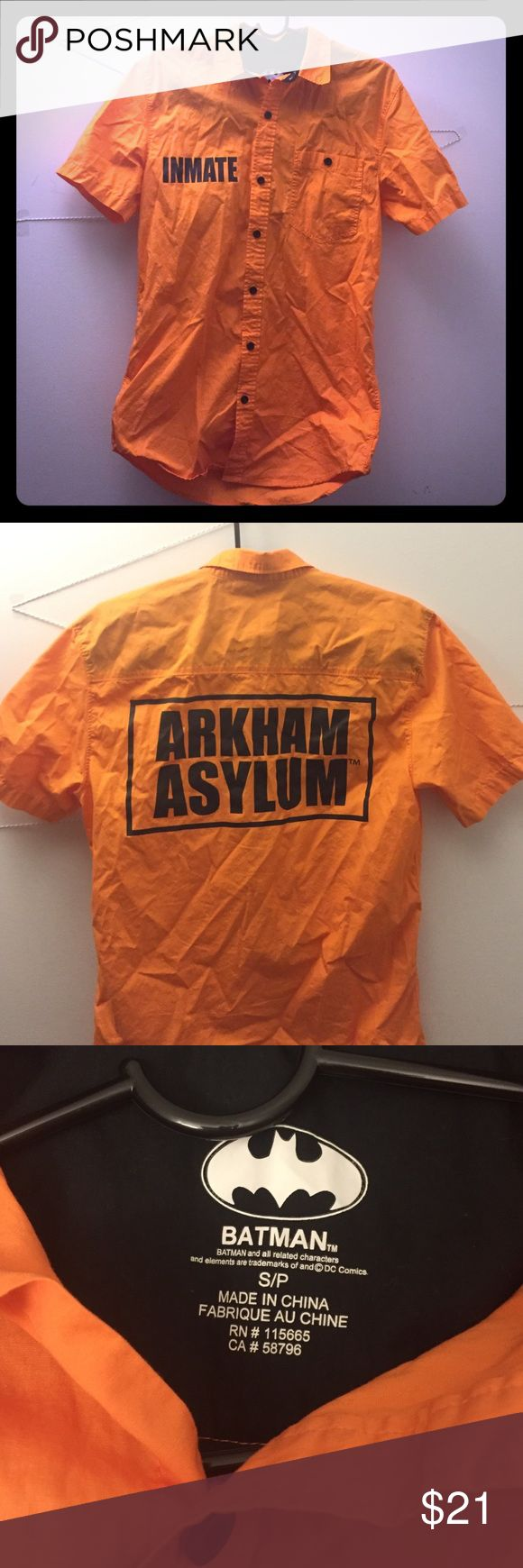 Harley Quinn Inmate Shirt Official Batman merchandise! Worn once. Great condition. Arkham Asylum on the back. Fits a bit loose. Size small. *This will be steamed before shipping out so it will have less wrinkles* Hot Topic Tops Button Down Shirts