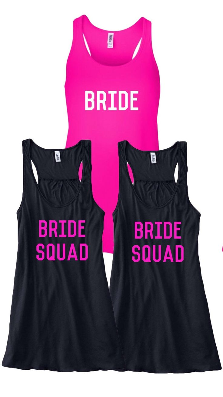 Bride and bridesmaid shirt set, bachlorette tank tops. Set of bride/bride squad by MonsterBunnyBoutique on Etsy https://www.etsy.com/listing/385497780/bride-and-bridesmaid-shirt-set