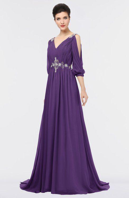14315a89d15 ColsBM Joyce Dark Purple Mature A-line V-neck Zip up Sweep Train Beaded Bridesmaid  Dresses