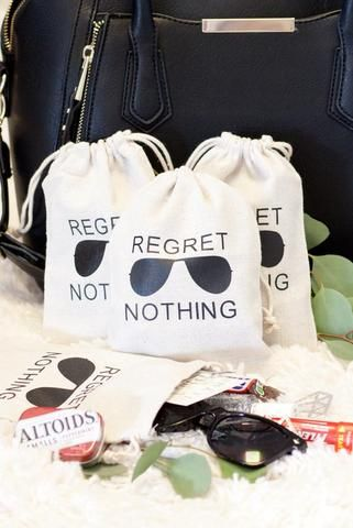Bachelorette party hangover kit bags - regret nothing - bachelorette party accessories and goody bags