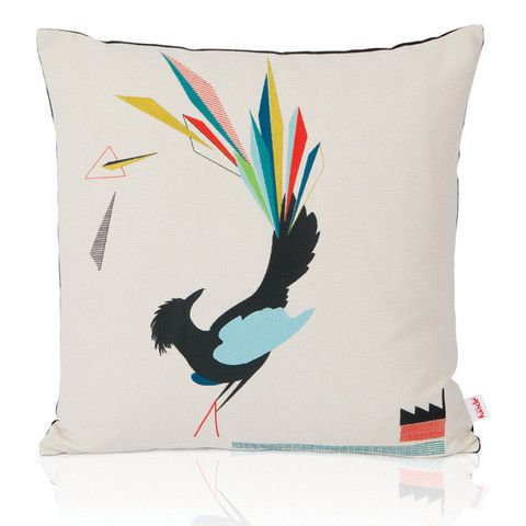 in love with this bright colored bird pillow