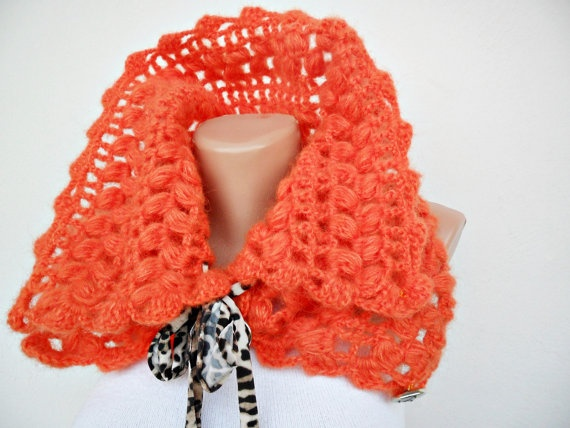 Orange Crocheted Cowl  Free Shipping by noyumberry on Etsy, $25.00