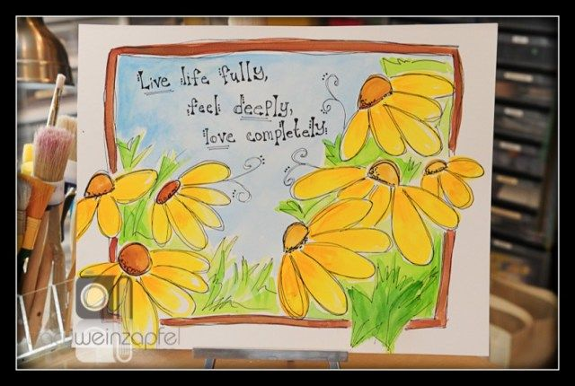 """Live Life"" by Tracy Weinzapfel LOVE this!! design and lettering, whimsical; colors alive and snappy!! =)"