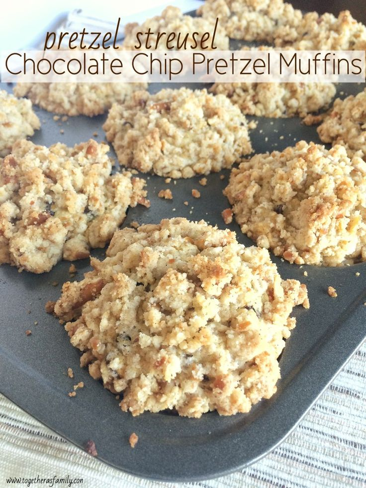 {pretzel streusel} CHOCOLATE CHIP PRETZEL MUFFINS | perfect sweet n' salty combo with sweet chocolate + crushed pretzel streusel! www.togetherasfamily.com