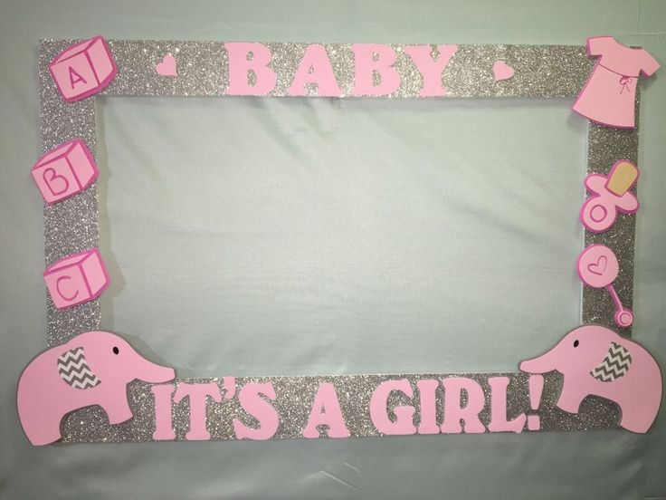 Photo Booth Frame to Take Pictures Elephant Birthday Baby Shower Pink Silver | eBay