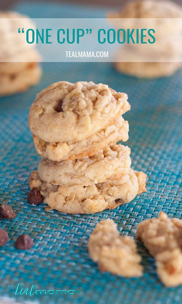 """This """"one cup"""" cookie recipe is our go-to chocolate chip cookie recipe. Oatmeal and rice krispies make these cookies crispy and delicious. You'll have a hard time going back to plain old chocolate chip. :)"""
