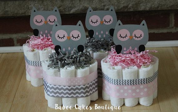 SET OF 4 Pink and Gray Owl Mini Diaper Cakes, Girls Owl Baby Shower, Pink, Gray, Grey Owl Centerpiece, Decor, Pink Gray Owl Chevron Shower