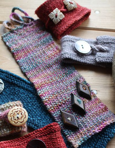 Worked in Linen Stitch, these bracelets use scant grams of yarn and are a great way to show off one or more unique buttons.