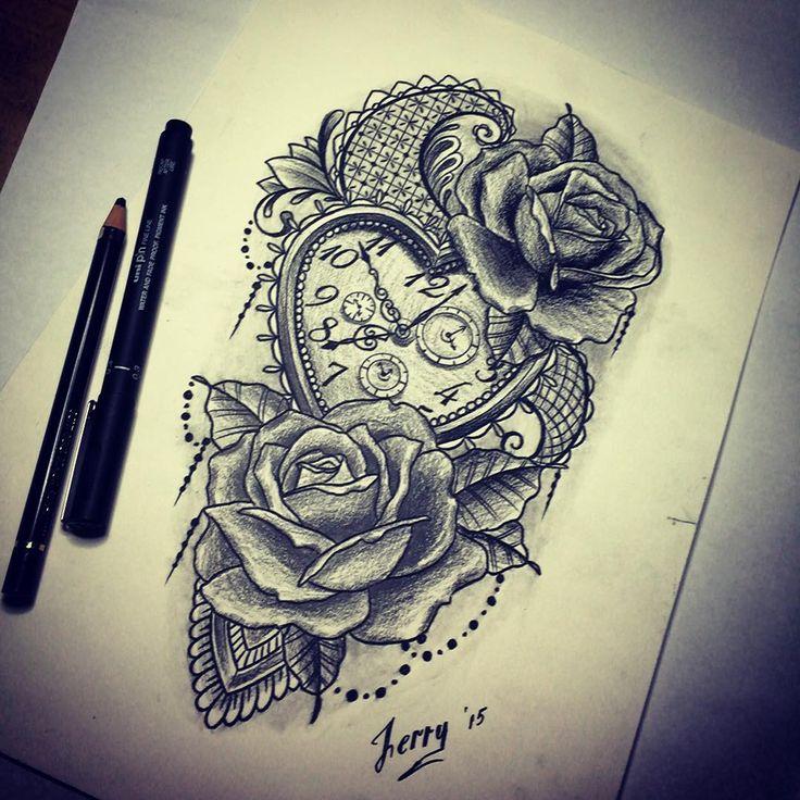 Taschenuhr herz tattoo  Die besten 25+ Tattoo dekoltee Ideen auf Pinterest | Dekoltee ...
