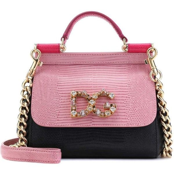 Dolce & Gabbana Sicily Mini Leather Shoulder Bag ($1,900) ❤ liked on Polyvore featuring bags, handbags, shoulder bags, pink, mini purse, mini handbags, shoulder hand bags, genuine leather shoulder bag and pink and black purse