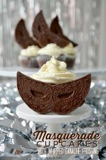 Dark Chocolate Ganache Cupcakes with Whipped White Chocolate Ganache Frosting. Decadent Masquerade Cupcakes.
