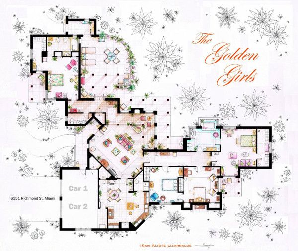 Spanish artist and interior designer Iñaki Aliste Lizarralde draws these famous house and apartment floor plans as a hobby, giving the TV viewer a new perspective on the homes in which our cherished characters reside. This one is The Golden Girls' house.