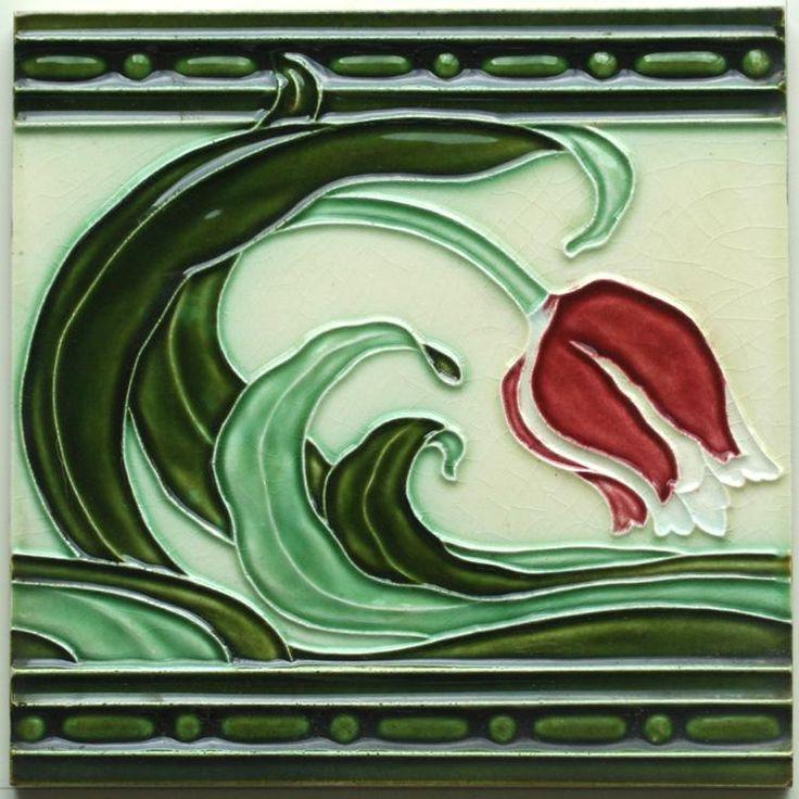 c.1920s Ceramiques Herent stylised tulip tile