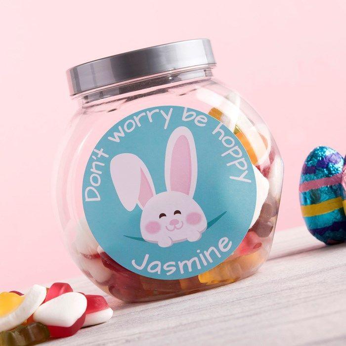 Personalised Haribo Sweet Jar - Don't Worry Be Hoppy | GettingPersonal.co.uk