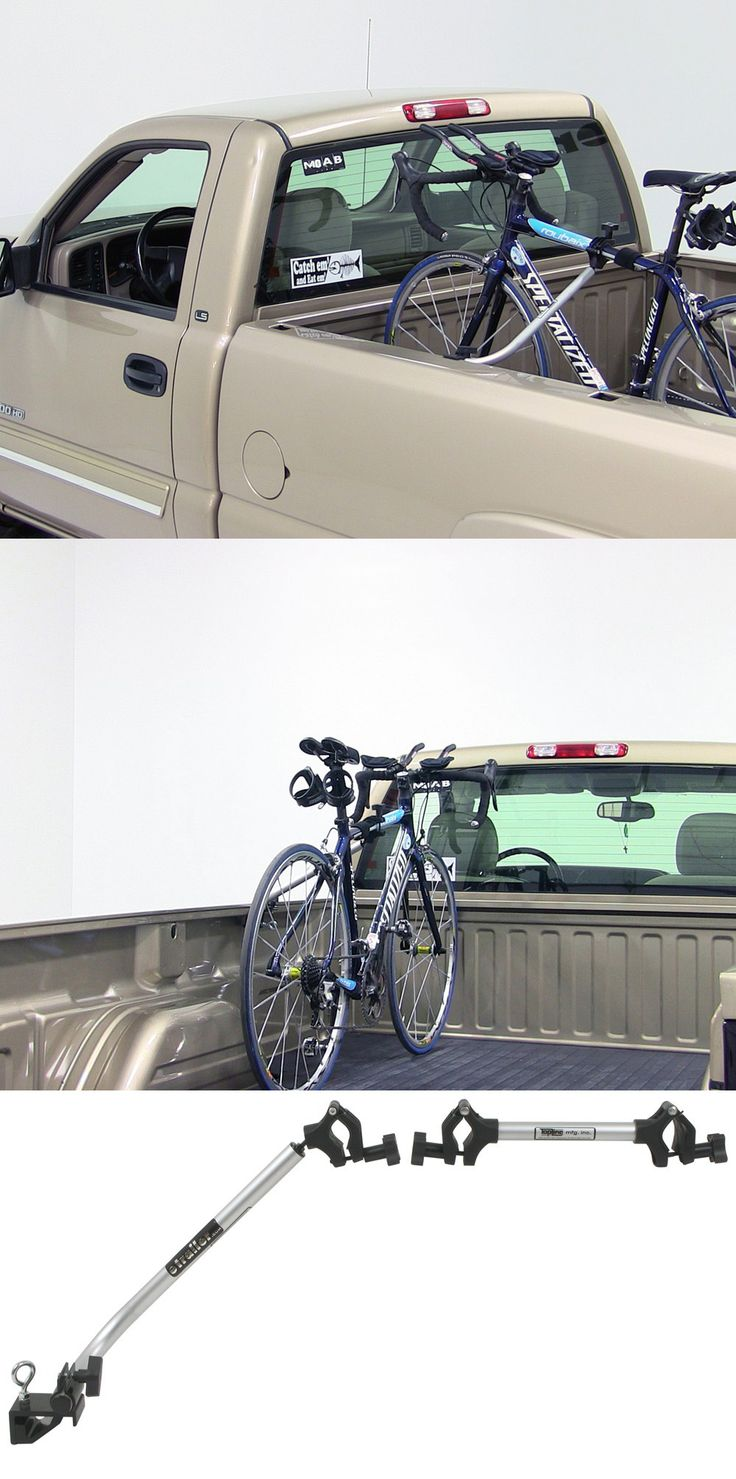 Truck bed bike rack clamps to the bed rails on most pickups. Secure your bikes while traveling with a security cable and keys. Compatible with the Toyota Tundra.