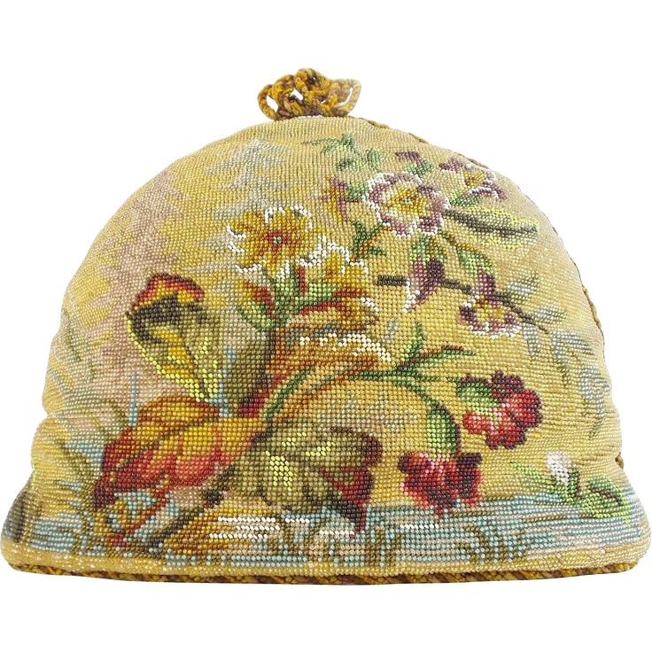 Beautiful  Antique Victorian Beadwork Tea Cozy Antique, vintage, retro tea pots, teaspoons, tea caddy, tea strainer and tea clothes at Ruby Lane www.rubylane.com @rubylanecom #antiquetea