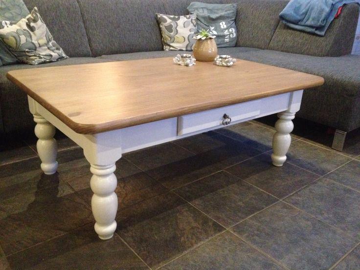Grenen salontafel, wit geschilderd, driftwood blad en lade voorzien van nieuw stalen greepje