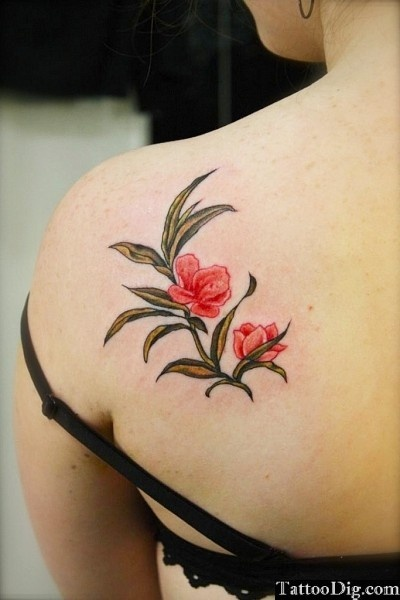 Two Red Flowers Shoulder Tattoo
