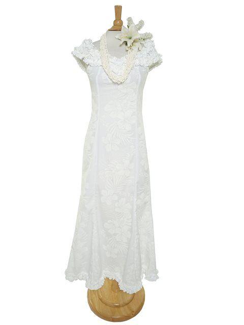 aa2800343c5 Hibiscus Fern Panel White Poly Cotton Hawaiian Nahenahe Ruffle Long ...