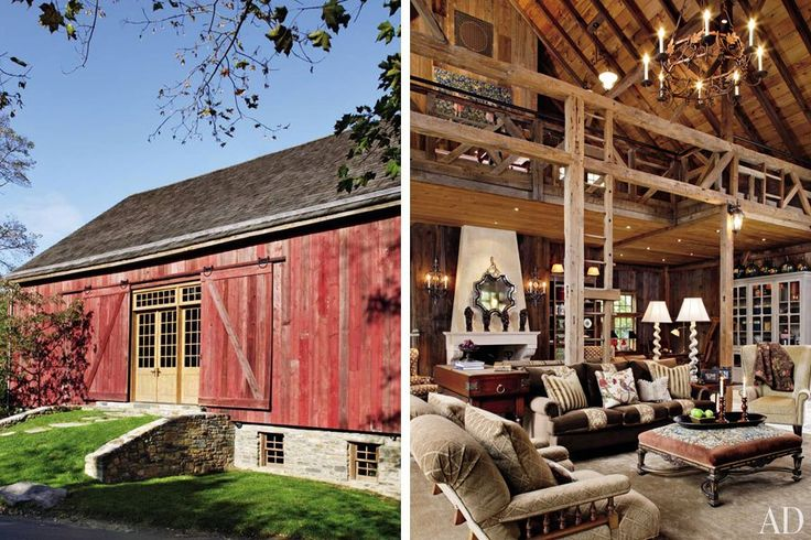 Penny Drue Baird transformed an airy 19th-century barn on her clients' Bucks County, Pennsylvania, property into a comfortable space for entertaining and housing guests. The main floor was left open, and Baird decorated the living areas in a variety of earthy tones to complement the reclaimed wood used throughout. (June 2010)