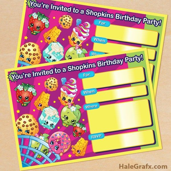 Links to several free shopkins party printables, like this invitation
